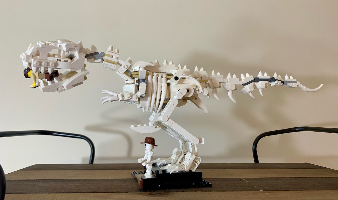 Lego Tyrannosaurus Rex eating paleontologist minifigure